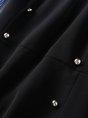 Shirt Collar Blue A-line Casual Long Sleeve Buttoned Striped Mini Dress
