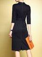 Black Sheath Casual Printed Striped Midi Dress