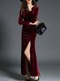 Shimmer Surplice Neck Long Sleeve Velvet Maxi Dresses