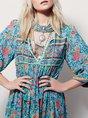 V neck Blue Asymmetrical Daily 3/4 Sleeve Elegant Chiffon Floral Midi Dress