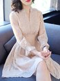 Apricot Date Long Sleeve Embroidered Plain Midi Dress