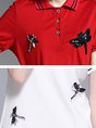 Shirt Collar Sheath Date Short Sleeve Embroidered Mini Dress