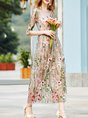 Apricot Vintage Floral Embroidered Maxi Dress