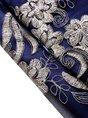 Blue A-line Vintage 3/4 Sleeve Embroidered Midi Dress