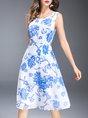 Blue Chiffon Casual Printed Floral Midi Dress