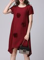 Shift Daytime Short Sleeve Appliqued Polka Dots Midi Dress