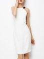 Halter White Sheath Slit Cocktail Statement Midi Dress