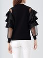 Ruffled Paneled Knitted Casual Blouse
