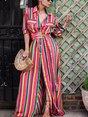 Swing Beach Boho Pockets Striped Maxi Dress