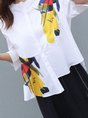 Printed Stand Collar Casual Top With Pants Two-Piece Set