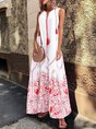 V Neck Red Beach Floral-Print Maxi Dress