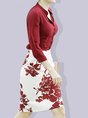 Sheath Floral Elegant  Top With Skirt Two-Piece Set
