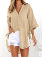 Linen Solid Lace-up Sweet Buttoned Casual Top