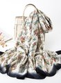 Casual Silk-Blend Graphic Beach Holiday Maxi Scarf