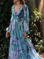 Purple Floral Printed Paneled A-Line Daily Holiday Maxi Dress