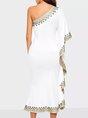 Elegant Asymmetrical Ruffled Single Sleeve Midi Dress