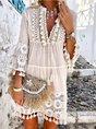 3/4 Sleeve V Neck Holiday Boho Dress
