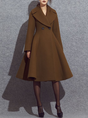 Brown Long Sleeve A-Line Elegant Coat