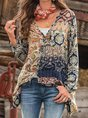 Cotton-Blend Long Sleeve V Neck Casual Top
