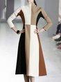 Stand Collar Color-Block Casual Midi Dress