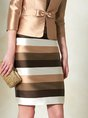 Elegant Striped Sheath Coat With Skirt Set