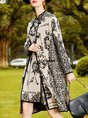Stand Collar Floral Buttoned Casual Trench Coat