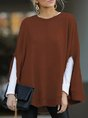 Solid Long Sleeve Round Neck Casual Tops