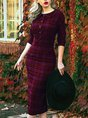 Plaid Sweet 3/4 Sleeve Peter Pan Collar Dress