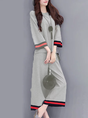 Shift Long Sleeve Paneled Crew Neck Top With Pant Two-Piece Set