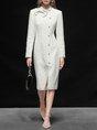 Sheath Date Bow Solid Elegant Midi Dress