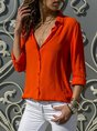 Solid Stand Collar Casual Chiffon Blouse