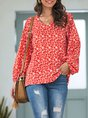 Red Balloon Sleeve V Neck Top