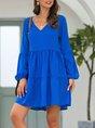 V Neck Daily Solid Casual Midi Dress