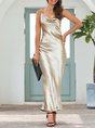 Gold Backless Mermaid Solid Sexy Maxi Dress