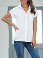 White Solid Shift Work Buttoned Blouse