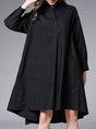 Pockets Shirt Collar Casual Midi Dress