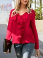 Red Solid V Neck Casual Long Sleeve Blouse