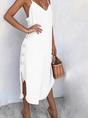 Spaghetti-Strap Cotton-Blend Solid Casual Dress