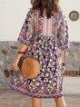 V Neck Daily Cotton-Blend Floral Midi Dress