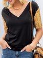 Black Shift Solid Short Sleeve Shimmer T-Shirt