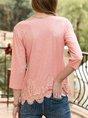 Orange Pink Crew Neck 3/4 Sleeve Plain Top