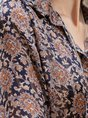 Long Sleeve Floral-Print Floral Vintage Blouse