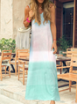 O-Neck Holiday Shift Cotton Ombre/tie-Dye Dress