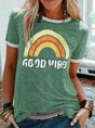 Short Sleeve Statement Cotton-Blend Letter T-Shirt