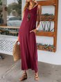 Sundress V Neck Boho Solid Maxi Dress