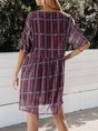 Sundress Plaid V Neck Short Sleeve Dresses