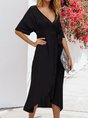 V Neck High Low Beach Maxi Dress