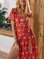 Sundress Red Short Sleeve Shift Maxi Dress