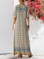 Sundress Blue Floral Boho Shift V Neck  Maxi Dress