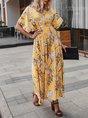 V Neck Short Sleeve Print Boho Maxi Dress